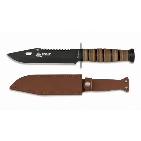 Cuchillo ALBAINOX C/Funda Piel. H: 18 cm bajonett kés
