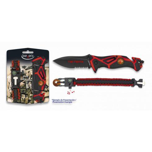 BARBARIC Set Pocket knife FIRE FIGHTER-paracord - zsebkés + karkötő