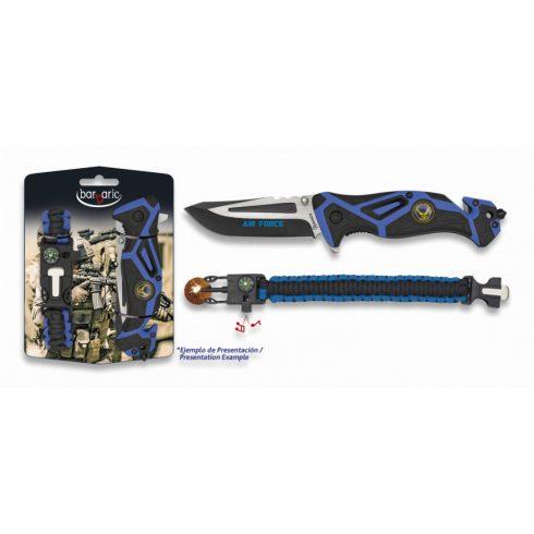 BARBARIC Set: Pocket knife AIR FORCE + paracord - zsebkés + karkötő