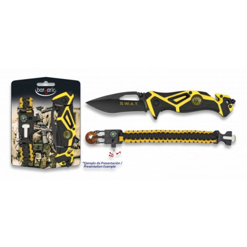BARBARIC Set: Pocket knife SWAT + paracord - zsebkés + karkötő